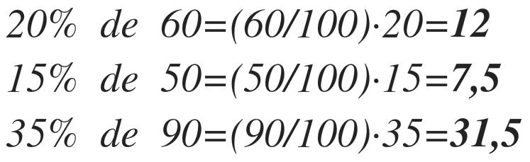 ejemplos de porcentajes