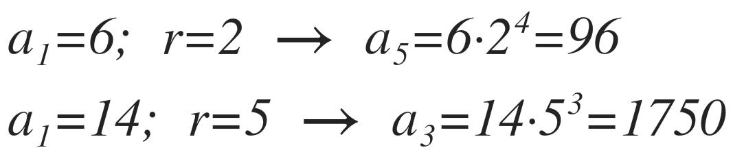 ejemplos de progresión geométrica